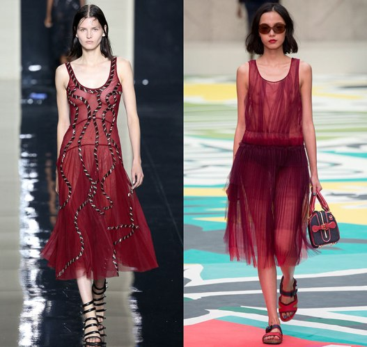 happenstijl-trend-twins-fashion-face-off-runway-spring-summer-2015-christopher-kane-burberry-tulle-tutu-ballerina-dress-marsala-red-wine