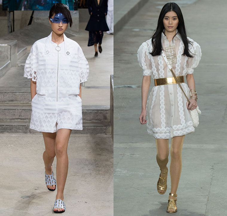 happenstijl trend twins fashion face off runway spring summer 2015 kenzo chanel karl lagerfeld filet lace sheer organza curtain white jumpsuit romper shirtdress