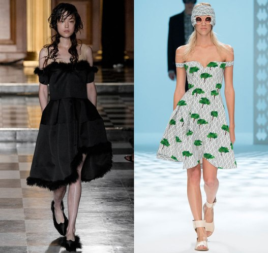 happenstijl-trend-twins-fashion-face-off-runway-spring-summer-2015-simone-rocha-chalayan-off-shoulder-dress-curved-uneven-hem-cocktail